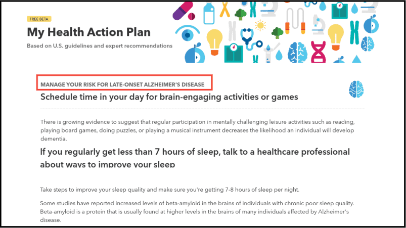 23andMe Health Action Plan