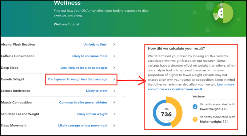 23andMe Wellness Reports