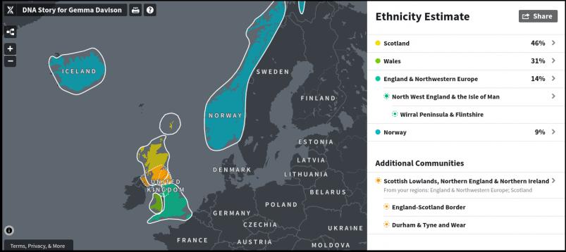 AncestryDNA Ethnicity Estimate Map