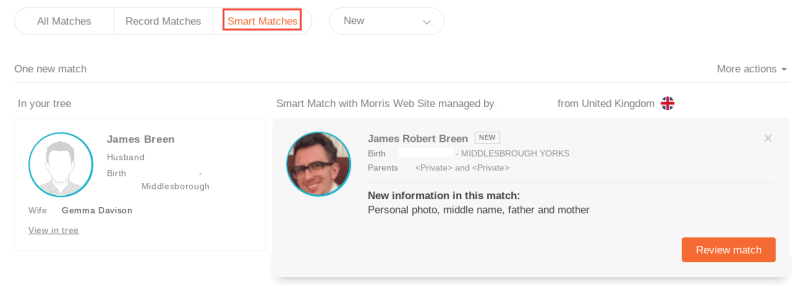MyHeritage Family Tree Smart Matches
