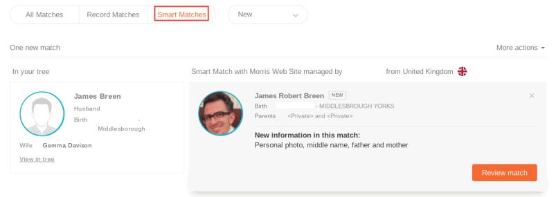 MyHeritage Family Tree Smart Matches