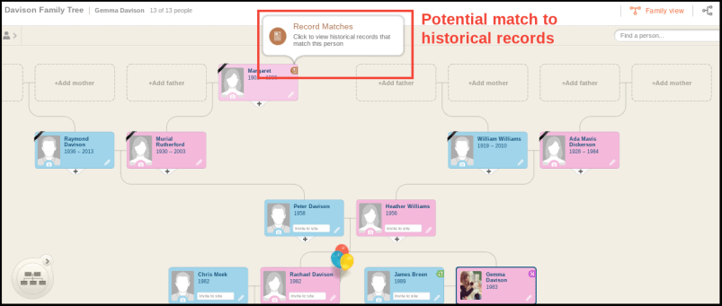 MyHeritage Family Tree Record Matches
